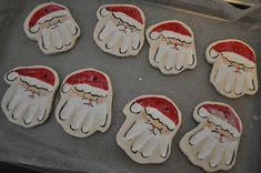 #DIY - Make your own Santa hand print ornament! FREE TUTORIAL and recipe for dough! Making hand print santa ornaments :)