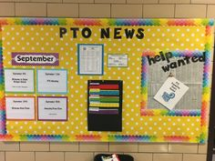 This is my first bulletin board as PTO President.  I looked at Pinterest for ideas and this is what we came up with.  We want to highlight the coming events.  Have folders for important forms and then Help Wanted.  This was so much fun and I thank everyone for sharing their ideas.