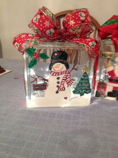 Christmas Snowman glass block light  by preciousideas2 on Etsy, $30.00