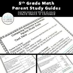 Looking for a way to get parents to review math at home with their kids? These 5th Grade Math Parent Study Guides are the perfect solution!  #vestals21stcenturyclassroom #math #teachingmath #elementarymath #mathstudyguides #mathhelpforparents #mathworksheets