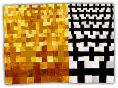 "'Crosses Black/Yellow' by Eleanor McCain (2004, 68"" x 96"" Quilt Lost by FedEx. Reward offered for recovery.)"