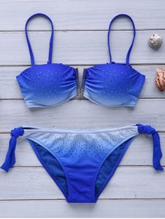 3e36a5b54042c Trendy Strappy Ombre Bikini Set For Women Glitter Fashion, Beachwear For  Women, Blue Bikini