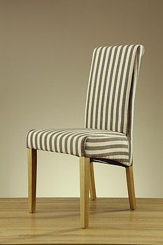 Scroll Back Striped Brown Fabric Chair With Solid Oak Legs