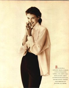 Photo by Patrick Demarchelier 1988 Blouse and trousers Virginia Vogue Italia, September 1988