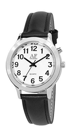 2nd Generation Talking Watch - Sliver-Tone Alarm Day-Date Women Watch (ACT-TK27-A352L-01)(M106). 2nd Generation talking watch with Time. Date-Day and Alarm. With VHAS talking watch technology. You read and hear the same time always. Clear and loud male Voice. silver tone watch case with bold Arabic number.