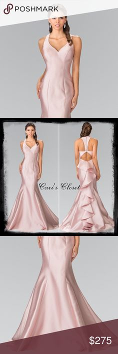 Blush formal-brand new Blush Beauty 🌸 This is a beautiful elegant satin gown with ruffled train would be perfect for a wedding, prom, homecoming or any black tie affair. We have it in a size medium in blush pink and a size 2 XL in black and red, but can order any size!  This dress is a bargain at $275!!  Layaway available!  #carisclosetsiloamsprings #downtownsiloamsprings #classy #elegant #prom #blacktieaffair #nwamomprom #shopsmall #shoplocal #brandnew #pageant #homecoming…