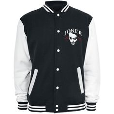 The Joker Varsity Jacket (165 BRL) ❤ liked on Polyvore featuring outerwear, jackets, pattern jacket, varsity style jacket, stitch jacket, button jacket and print jacket