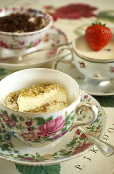 yummy desserts...served in pretty...mismatched...tea cups