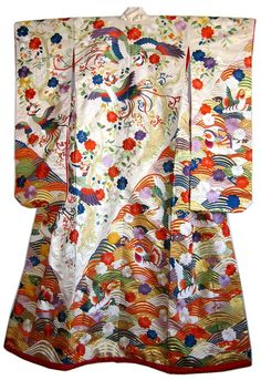 silk brocade embroidered Japanese wedding kimono, 1960's