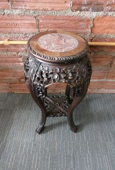Chinese Huanghuali Marble Topped Plant Stand - Antiques Atlas Antique Chinese Furniture, Get Directions, Marble Top, Berries, Carving, Passion, Antiques, Plants, Home Decor