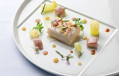 Soy and butter poached halibut with pickled apple and smoked eel - Simon Hulstone
