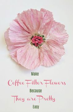 May 2019 - Making pretty coffee filter flowers is easy. Use food coloring, craft paint or markers to add colour; or leave them white. Good for wedding decoration, centerpieces, bouquets and home decor. Paper Flower Art, Paper Flowers Craft, Paper Flower Tutorial, Paper Roses, Flower Crafts, Diy Flowers, Fabric Flowers, Paper Crafts, Faux Flowers