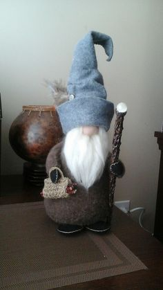 Large Gnome with walking stick by Craftiepants