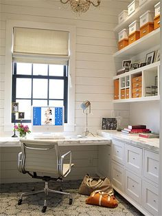 Craft room...Why this office works: - open shelving - neat, labeled boxes for categorizing - files within arm's reach - beautiful design elements that make you actually want to BE in the room - natural light - task light on desk - comfy chair that swivels/moves with you