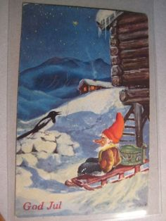 P.Lillo Christmas Cards, Xmas, Scandinavian Christmas, Gnomes, Troll, Auction, Magic, Pure Products, Painting