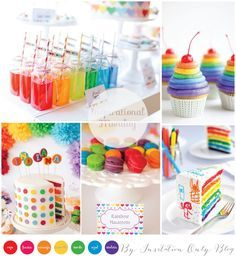 Let's have a rainbow party. Here's a few things to get you started. Me-ow! Rainbow Unicorn Party, Rainbow Birthday Party, Baby Birthday, 1st Birthday Parties, Birthday Ideas, Noahs Ark Party, Happy Birthday Girls, Troll Party, Circus Party