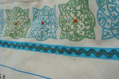 Veľká taška s motívom vták hrbáč /modrá-zelená-hnedá-biela/