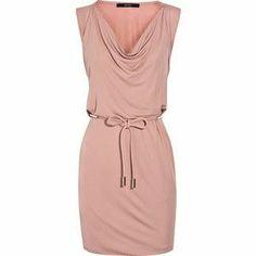 I love this pink wrap style dress with a scoop neck
