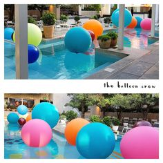 3ft, 4ft and 5ft balloons add colour and fun to this pool.  www.balloons.net.au Giant Balloons, The Balloon, Colour, Outdoor Decor, Globes, Color, Colors