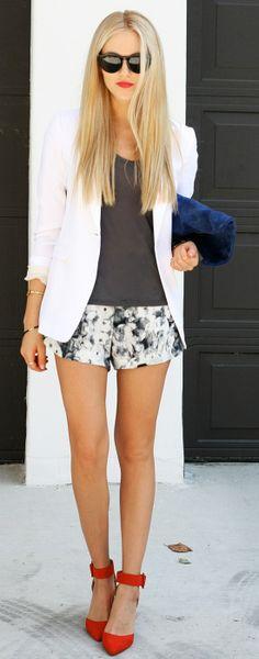 Blazer + floral shorts + heels
