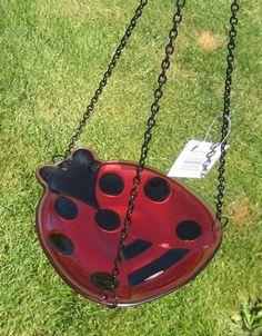 Ladybug Bird Bath Iron Chain Hanging Glass Black Red Seed Feeder New