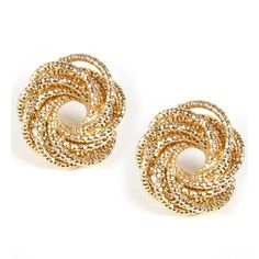Gold Coiled Stud Earrings ($8.90) ❤ liked on Polyvore featuring jewelry, earrings, accessories, brincos, acessorios, gold, gold jewelry, gold stud earring sets, gold jewellery and yellow gold stud earrings