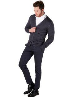 Dark gray Cardigan for men Exibit merino wool
