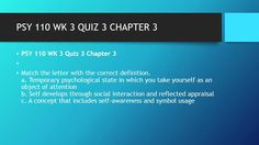 PSY 110 WK 3 QUIZ 3 CHAPTER 3  #https://youtu.be/PwlVGcbiqjY