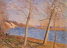 Alfred Sisley, Riverbank at Veneaux Fine Art Reproduction Oil Painting