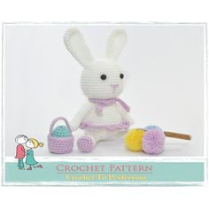 Amigurumi PATTERN Easter Bunny Rabbit, Crochet Animal Patterns,... ($3.21) ❤ liked on Polyvore featuring home, home decor, holiday decorations, rabbit home decor, bunny home decor and crochet home decor