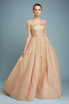 Simple Beaded Nude Three Quarter-Sleeve Gown | Fashion Friday: Reem Acra Pre-Fall 2017 Collection | http://brideandbreakfast.ph/2017/01/13/reem-acra-pre-fall-2017/