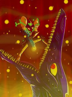 Metroid Samus vs Ridley by EPICamiture2099