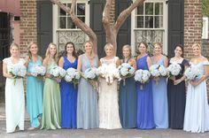 Charlotte & Hunter's Elegant Charleston wedding featured a Modern Trousseau  gown, bridesmaids in shades of blue and an evening reception along the  Charleston Harbor documented by Captured by Kate Photoography