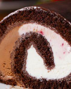 Neapolitan Ice Cream Cake Roll Recipe by Tasty