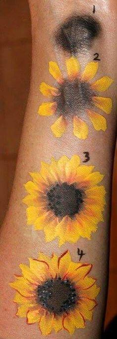 Sunflower face painting #facepainttutorial