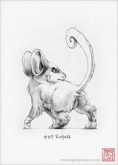 Rattata 5 x 7 print pokemon drawing art by RockyHammerEtsy