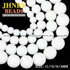 JHNBY AAA Matte Ceramic white stone beads Natural Stone Microlite Round ball Jewelry bracelet accessories making DIY White Stone, Stone Beads, Natural Stones, Jewelry Bracelets, Jewelry Making, Diy, Ceramics, How To Make, Accessories