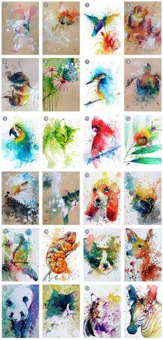 Watercolor Mini art prints 17 x 11 cm Set of 4 by tilentiart on Etsy Watercolor Animals, Watercolour Painting, Painting & Drawing, Watercolours, Pintura Graffiti, Fuchs Illustration, Animal Paintings, Fine Art Paper, Amazing Art