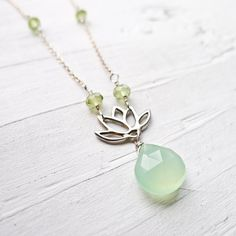 Zen Garden  Green Chalcedony Lotus Necklace by CamileeDesigns,