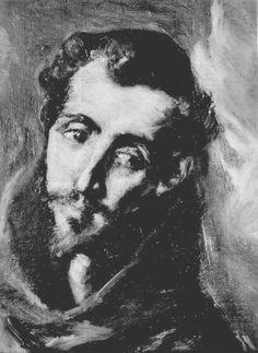 Detalle del lienzo dedicado a San Bernardino de Siena que muestra el rostro del santo.   http://aleph.csic.es/F?func=find-c&ccl_term=SYS%3D000100103&local_base=ARCHIVOS