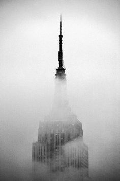 Empire State Building in fog, New York City