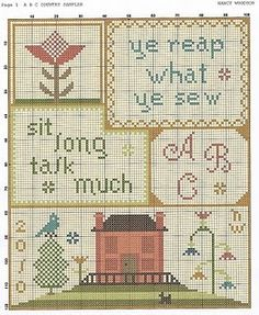abc sampler free pattern--LOTS of free cross stitch charts on this blog.