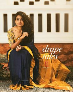 """Navy blue saree """" She wasn't looking for a knight. She was looking for a sword """" saree and photography by Indian Look, Indian Ethnic Wear, Indian Wedding Outfits, Indian Outfits, Saree Dress, Sari, Navy Blue Saree, Saree Photoshoot, Saree Models"""