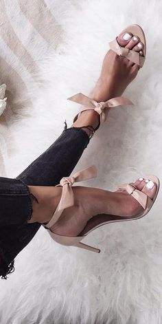#summer #women's #shoes #inspiration |  Nude Bowed Sandals