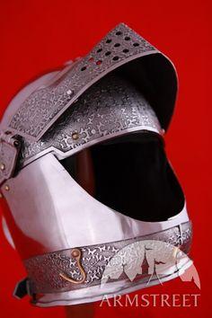 Mittelalter Helm Armet mit geätztem Muster