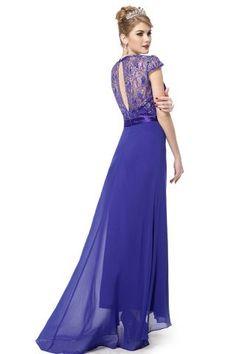 Diamante Cap Sleeve Evening Gown