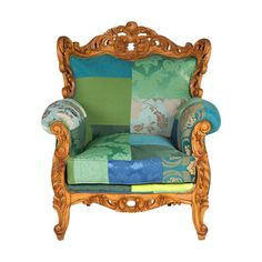 """""""The Green Valley"""": Hand-stitched, hand-upholstered designer armchair with a unique patchwork-fabric design. The cushions are stuffed with with the highest-quality feathers; upholstered with woven silks, velvets and printed satin textures. The frame is hand-carved hard wood. This completely hand-made product can be purchased for $2,500.00 (USD +s/h) at the online boutique """"Patchwork4Home"""", via Etsy."""