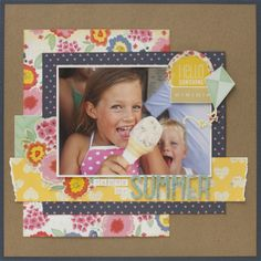 Summer, a fantastic layout using our Dear Lizzy Lucky Charm collection