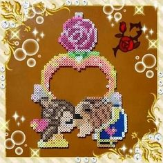 Beauty and the beast Perler Bead Disney, Perler Bead Art, Pixel Art, Bead Crafts, Diy And Crafts, Hama Beads Design, Kawaii Diy, Peler Beads, Melting Beads