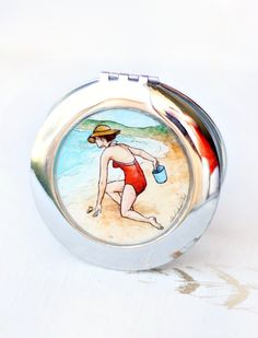 Hunting for Shells - hand painted compact mirror {www.sarahlambertcook.com}
